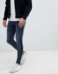 Темно-синие джинсы скинни с бархатными полосками River Island - Синий