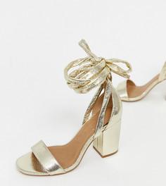 Босоножки на блочном каблуке для широкой стопы ASOS DESIGN Howling - Золотой