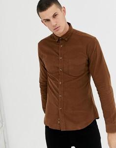 Светло-коричневая зауженная рубашка с длинными рукавами и карманом Celio - Рыжий