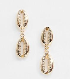 Золотистые серьги-подвески в форме ракушек каури DesignB London - Золотой