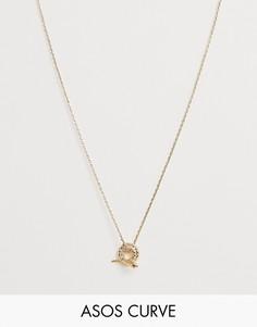 Золотистое ожерелье-цепочка в винтажном стиле с подвеской в виде змеи ASOS DESIGN Curve - Золотой