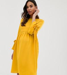 Короткое приталенное платье горчичного цвета с рукавами клеш Queen Bee - Желтый