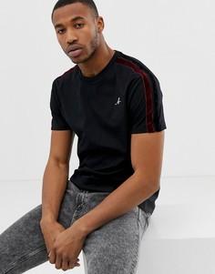Черная футболка с бархатными полосками Bershka - Черный