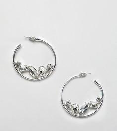 Серьги-кольца со стразами DesignB London - Серебряный