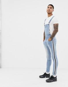 Выбеленный джинсовый комбинезон с полосами по бокам Liquor N Poker - Синий