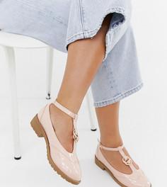 Туфли на плоской подошве для широкой стопы с двойными кольцами ASOS DESIGN Maxy - Бежевый