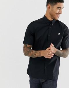 Черная саржевая рубашка с короткими рукавами Fred Perry - Черный