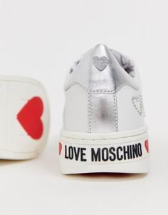 Кроссовки с заклепками и логотипом Love Moschino - Белый