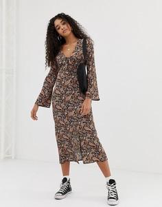 Платье макси с завязкой и принтом пейсли в стиле бохо Nobodys Child - Черный
