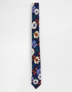 Темно-синий узкий галстук с цветочным принтом ASOS DESIGN - Темно-синий