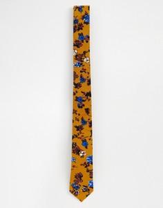 Узкий фактурный галстук горчичного цвета с цветочным принтом ASOS DESIGN - Желтый