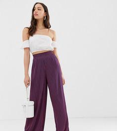 Широкие атласные брюки в полоску Glamorous Tall - Темно-синий