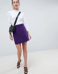 Мини юбка-трапеция с фигурным краем ASOS DESIGN - Фиолетовый