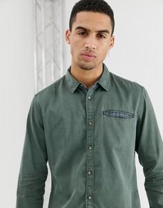 Приталенная джинсовая рубашка выбеленного оливкового цвета Esprit - Зеленый