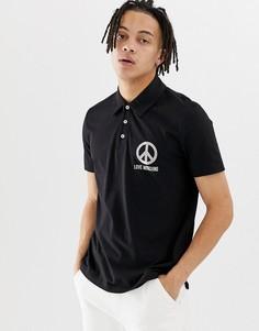 Футболка-поло с логотипом на груди Love Moschino - Черный
