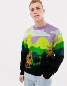 Шерстяной джемпер классического кроя с тиграми Tiger of Sweden Jeans - Мульти