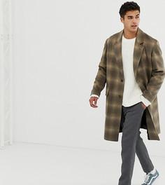 Бежевое пальто в клетку из ткани с добавлением шерсти Noak - Коричневый
