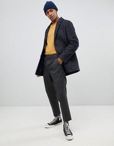 Синее короткое пальто из букле с добавлением шерсти Moss London - Синий