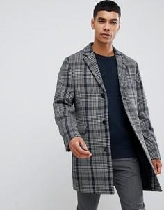Пальто в клетку Принц Уэльский Moss London - Серый
