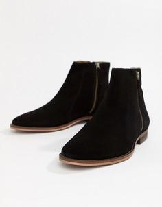 Черные замшевые ботинки челси WALK London Dominic - Черный