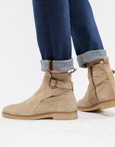 Светло-бежевые замшевые ботинки челси с пряжками WALK London Hornchurch - Бежевый