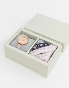 Подарочный набор из часов с кожаным ремешком и шарфа Olivia Burton - Розовый