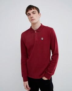 Красная футболка-поло с длинными рукавами Fila White Line - Красный