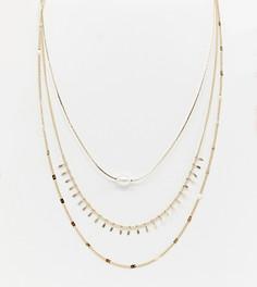 Ярусное ожерелье с искусственным жемчугом DesignB London - Золотой