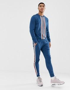 Спортивный костюм с полосами по бокам ASOS DESIGN - Синий