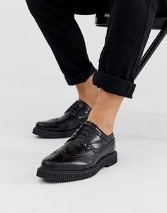 Черные кожаные броги-криперы ASOS DESIGN - Черный