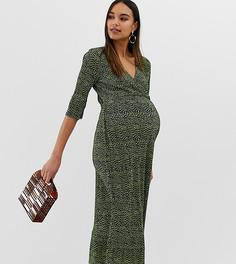Плиссированное чайное платье миди с открытой спиной и принтом ASOS DESIGN Maternity - Мульти