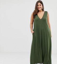 Трапециевидное платье макси с глубоким вырезом ASOS DESIGN Curve - Зеленый