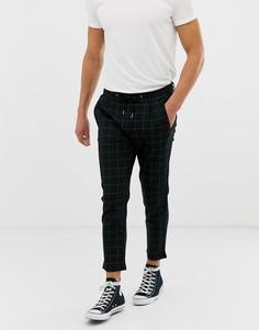 Зауженные брюки в клетку Jack & Jones - Черный
