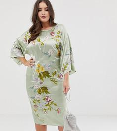Платье-кимоно миди с цветочной вышивкой ASOS DESIGN Curve - Зеленый