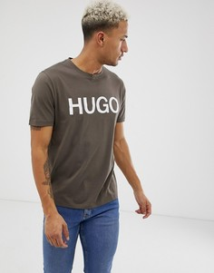 Футболка цвета хаки с логотипом HUGO Dolive-U3 - Зеленый