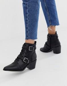 Черные ботинки на каблуке с пряжками в стиле вестерн New Look - Черный