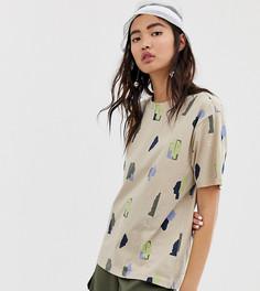 Бежевая oversize-футболка с принтом Monki - Бежевый