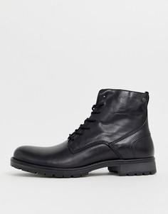 Кожаные ботинки на шнуровке Jack & Jones - Черный