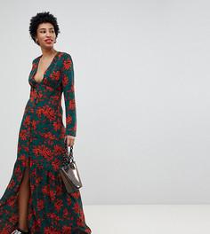 Платье макси с цветочным принтом Glamorous Tall - Зеленый