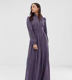 Платье макси в клеточку с высоким воротом Glamorous Tall - Фиолетовый