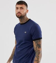 Темно-синяя облегающая футболка с контрастной окантовкой Fred Perry эксклюзивно для ASOS - Темно-синий