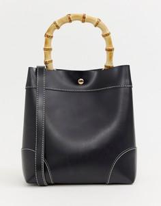 Черная сумка через плечо с бамбуковой ручкой Glamorous - Черный