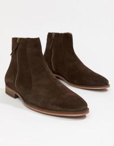 Коричневые замшевые ботинки челси с молнией WALK London Dominic - Коричневый