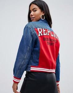 Джинсовая куртка со вставкой и надписью на спине Destroyed Sport Replay - Черный