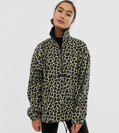 Флисовый oversize-джемпер с гепардовым принтом Puma - Черный