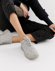 Серовато-стальные кроссовки на массивной подошве Public Desire Blend - Синий