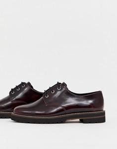 Кожаные туфли со шнуровкой на плоской подошве ASOS DESIGN - Красный