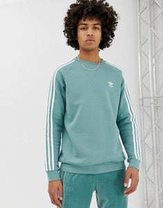 Зеленый свитшот с 3 полосками adidas Originals - Серый