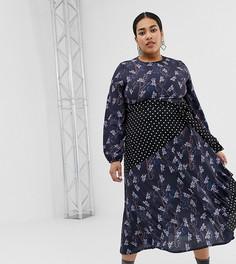 Платье миди с принтом и поясом Lost Ink Plus - Мульти