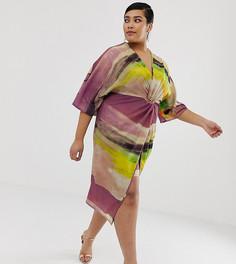 Платье миди с абстрактным принтом и узлом спереди ASOS DESIGN - Мульти